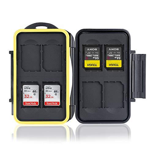 Ares Foto® MC-SD8 Speicherkarten Schutzbox • Memory Card Case • Card Safe • Tasche • wasserdichtes Etui • Aufbewahrung & Transport • stoßfeste Schutzhülle • Hülle Kartenbox für 8 Stück SD Karten