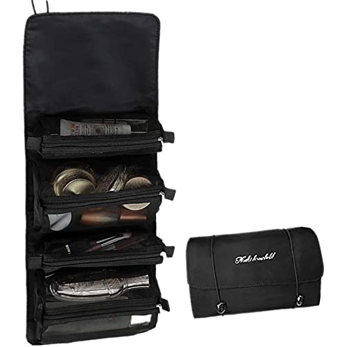 Bolsa de cosméticos desmontable, bolsa de almacenamiento portátil de gran capacidad, bolsa de almacenamiento de baño negro