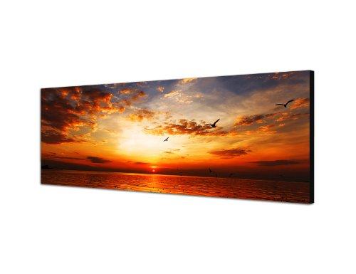 Augenblicke Wandbilder Keilrahmenbild Wandbild 150x50cm Meer Strand Sonnenuntergang Wolkenschleier