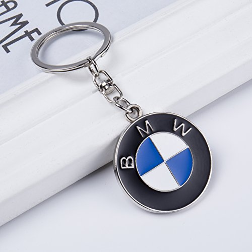 QZS Car Logo Key Chain Ring - 3D Chrome Metal Car Keychain Keyring Family Present for Man and Woman Gifts Elegant Durable for BMW Cars