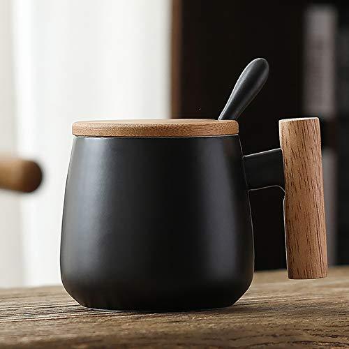 R RUNVEL Kaffeetassen mit Deckel Edelstahllöffel Espressotassen Kaffeetassen groß KeramikTasse mit Holzgriff 400 ML Tassen kaffeebecher Coffee Cup Schwarz