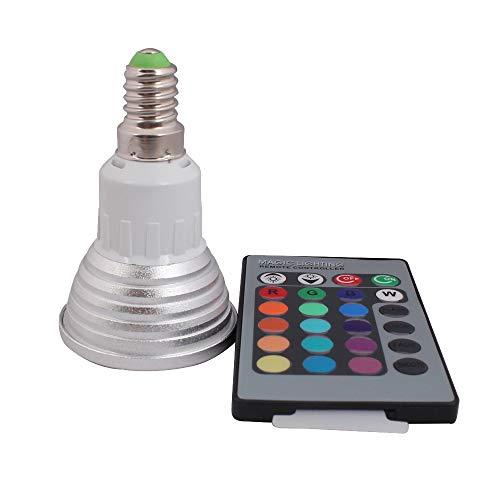 3W E14 RGB LED Lampe multicolor Glühbirne/Glühlampe mit Ferbedienung, Farbwechsel 16 Farben Auswahl, LED Leuchtmittel, LED Birnen