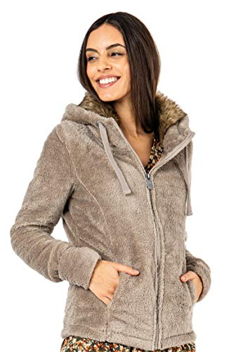 Sublevel Damen Fleece-Jacke mit Kunstfell & Teddy-Fleece Light-Brown L
