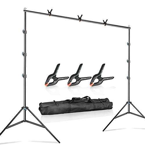 Julius Studio 10 ft. Wide 9.6 ft. Tall Adjustable Background Muslin Support Structure System Stand and Cross Bar for Screen Backdrop with 3 Pack of Support Clamps, Stable Thick Pole, JSAG242