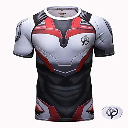 Adidases Kurzarm für Herren,Avengers: Endgame 3D Print Kompressions-Sport-T-Shirts schnell trocknendes Fitness-T-Shirts,M