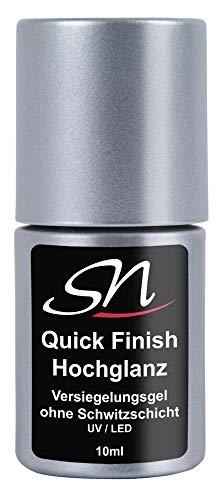 SN Nageldesign Quick Finish Hochglanz Versiegelungsgel ohne Schwitzschicht High Gloss UV & LED Flex Gel für Gelnägel Acrylnägel und Chrom Effekt geeignet, Nagelgel klar (1 x 10 ml)