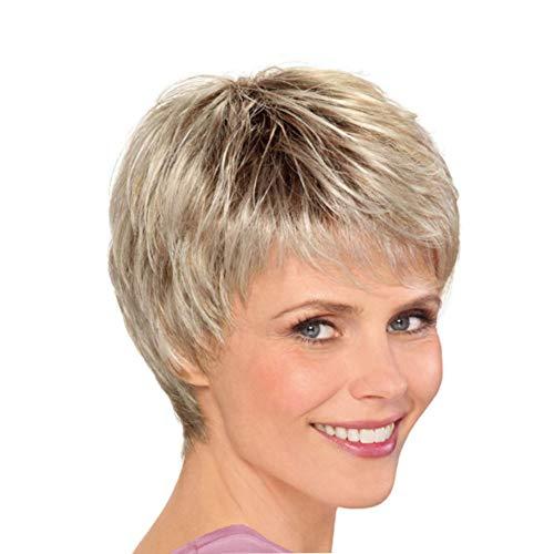 court Pixie coupé perruques de cheveux humains Moelleux Omber cheveux blonds avec des perruques de racine noire pour les femmes, Fashion wig Short hair fluffy