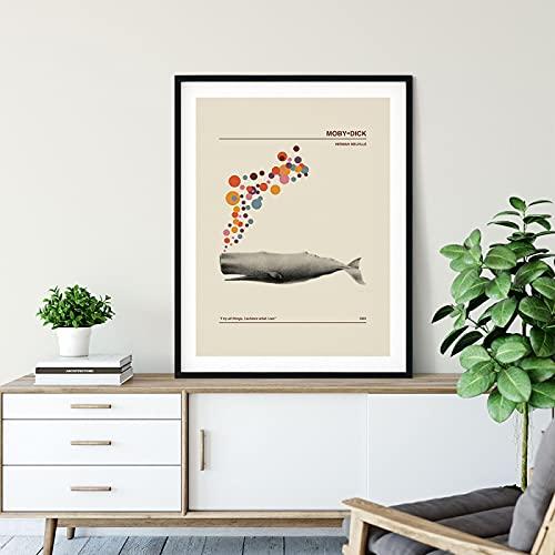 Stile Nordico Balena Colorata Bolla Pittura Stampa Copertina Del Libro Vintage Arte Tela Poster Sulla Parete Decorazione Animale Immagine 50x70 Cm (20x28 Pollici) Senza Cornice