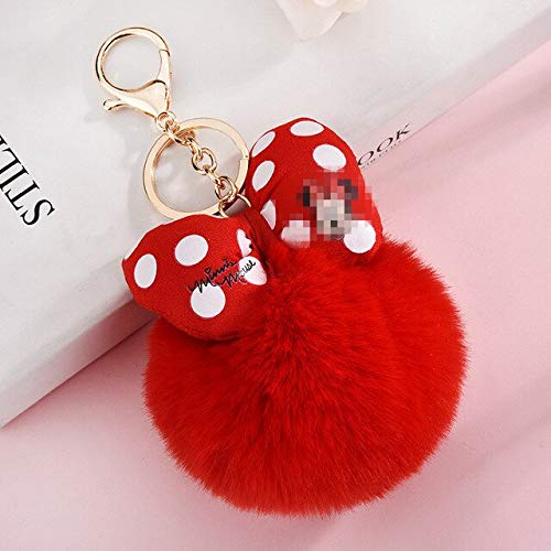 Bowknot Bola de Piel de Conejo Pompón para Llavero de Coche Bolsa Llaveros Joyería Mujer Bolsa de Coche Llavero Llaveros Chaveiros - Rojo