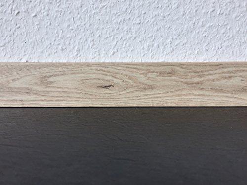 Sockelleisten mit Nut Eiche hell rustikal | Fußleisten mit MDF-Kern | Fußbodenleisten in den Maßen 2,4m x 5,8cm | Wandabschlussleiste - rückseitige Clipfräsung & gerader Abschluss | MADE IN GERMANY
