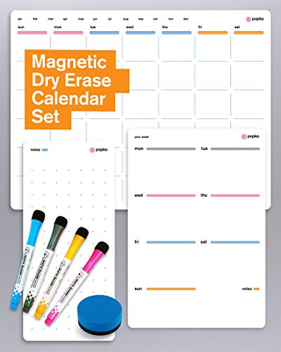 Magnetic Dry Erase Calendar for Fridge. 3 Pack Magnet Calendar Set: Monthly Refrigerator Whiteboard Calendar, Weekly Calendar Board & Notes. Family Calendar 2020 with 4 Markers & Eraser
