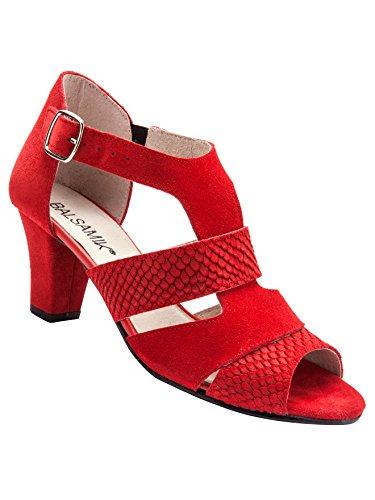 Balsamik - Sandales en croûte de Cuir - Femme - Taille : 41 - Couleur : Rouge