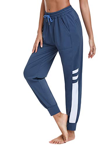 Sykooria Damen Jogginghose Streifen Freizeithose Lang Sporthose Leicht Luftig Sweathose High Waist Hose mit Taschen und Kordelzug