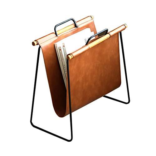 Lw Magazine rack Zeitungsständer, Bodenständer Leder-Desktop-Zeitungsständer Kleines Bücherregal for Zeitschriften und Zeitungen (Color : Brown, Size : 40 * 22 * 39cm)