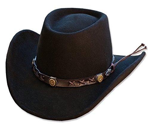Hochwertiger Cowboyhut Westernhut GAMBLER 100{0409c63408738246d62b9bbea74288c75a344a31c4e3fbe1b13c9746f0564a1a} Wollfilz schwarz, L (58/59) von Stars & Stripes