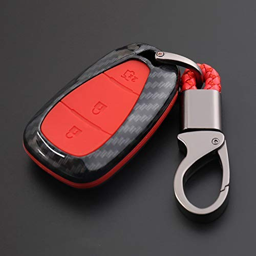 WYZXR 2Sätze Carbon Fiber Print CAR Remote Key Bag Holder CASE Kompatibel Malibu Equinox Cruze Camaro 2016 2017 2018 ZUBEHÖR-Rot 3Button