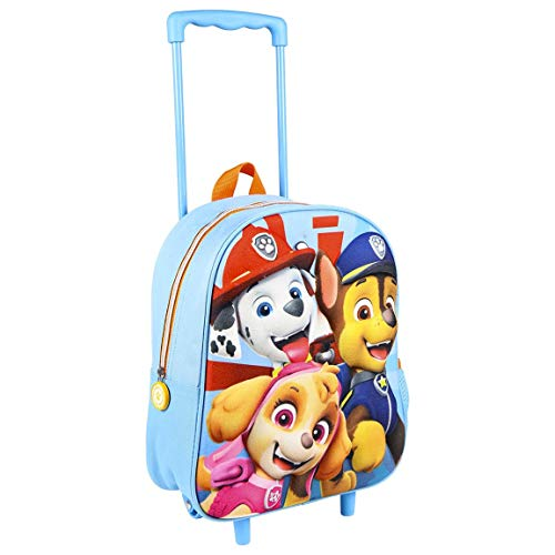 Paw Patrol Kids Wheeled Trolley Backpack, Children's School Backpack, Kids Travel Carry On Cabin Hand Luggage Suitcase, Fun 3D Design, Gift for Girls & Boys!