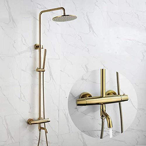 Grifo de ducha termostático dorado de 3 vías juego de grifo de bañera de agua de lluvia de 8 pulgadas,G67I65VI