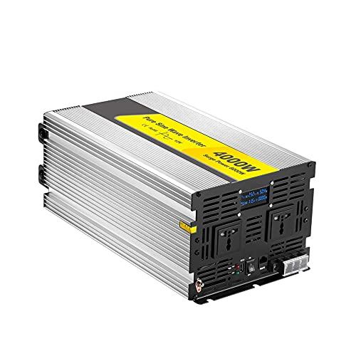 J-Love Inversor de energía de Onda sinusoidal Pura, 4000W DC 12V/24V a 110V/220V con Pantalla LCD y Control Remoto, Puerto USB y 2 Salidas de CA