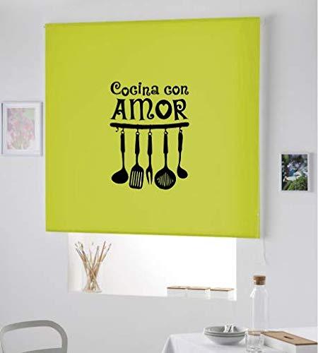 Estor Iroa Personalizado Cocina/Cocina con Amor ¡ESTORES ENROLLABLES TRANSLUCIDOS! (110X230, Verde Pistacho)