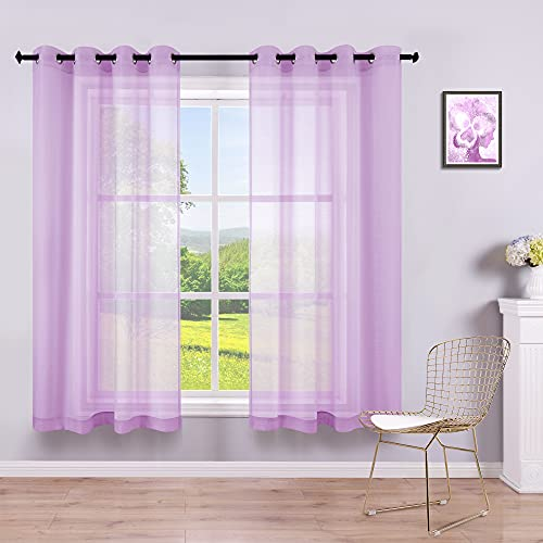 Purple Curtains 45 Inch Length for Nursery 2 Panels Set Grommet Semi Sheer Short Curtain for Bedroom Girls Small Window Bathroom Kids Room Wide 52x45 Inches Long 1 Pair Lavender Lilac Purple
