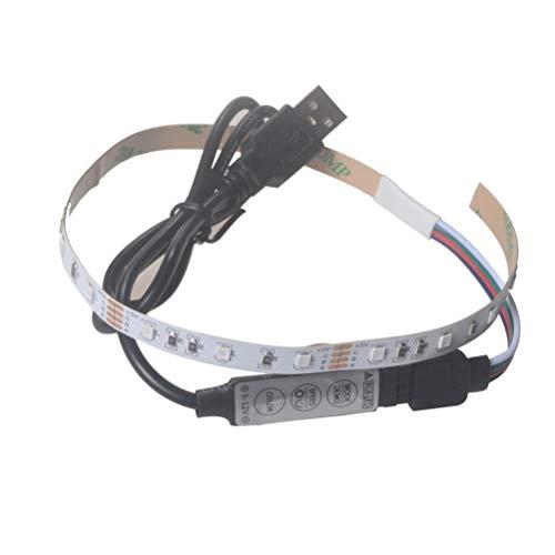 Tira de luces LED USB 5V 2835 12SMD 20CM Color impermeable con APP controlada, cuerda de luz RGB flexible tira de iluminación para interior/exterior, sala de estar, dormitorio, decoración WATOPI