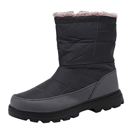 Alwayswin Herren wasserdichte Schneestiefel Outdoor Warme Winterstiefel Plus Samt Bequeme rutschfeste Trekking-Wanderstiefel Mode Einfarbig Baumwolle Stiefel mit Reißverschluss