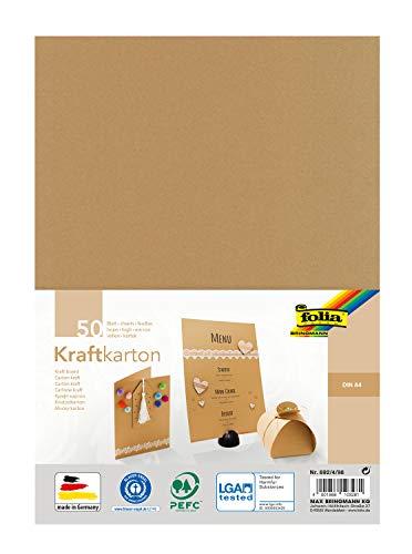folia 692/4/98 - Kraftkarton natur, 230 g/m², DIN A4, 50 Blatt, zum individuellen Basteln und Gestalten von Grußkarten, Einladungen, Tischkarten, uvm.