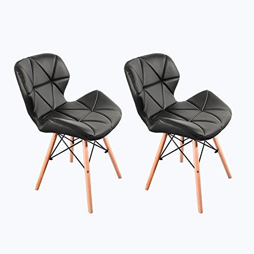 Panana Esszimmerstühle aus Holz im modernen Stil, Holzbeine und bequemer gepolsterter Sitz, für Zuhause, Büro, Design-Stuhl (schwarz, 2)