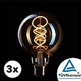 3x Bombilla Edison Crown LED base E27   Regulable, 4W, 2200 K, luz cálida, EL19   Iluminación de Filamento antiguo con apariencia retro vintage   Etiqueta Energética de la Unión Europea: A+