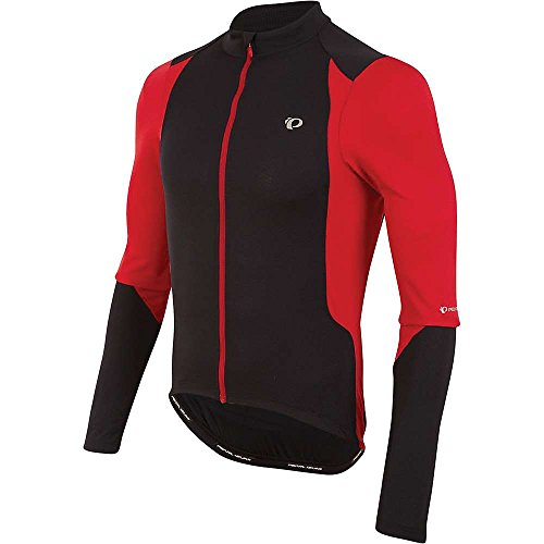 PEARL IZUMI Men's Ride Select Pursuit Long Sleeve Jersey, Black/True Red, Small