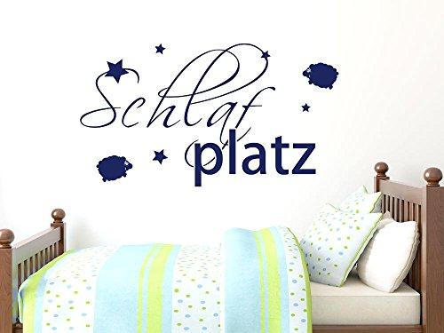 GRAZDesign Wanddeko Dekoration für Schlafzimmer Schlafplatz, Wanddekoration Wandsticker Schlafen Kinder Baby über Kinderbett, Wandtattoo Schafe und Sterne / 54x30cm / 049 königsblau