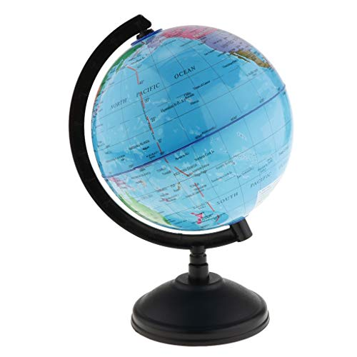 NLLeZ 1pc Mapa del Mundo del Mundo en el Stand Standing Student Toys Education Globe Globe National Boundries Ríos Mountains Geographic Earth 14cm (Color : Blue)
