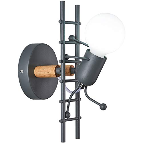 DPG Lámpara de Pared para muñecas Moderna Creativa Apliques de Pared humanoides Escandinavo Simple E27 Luces de Pared de Little Man de Escalera Escalada para habitación de niños Cocina Regalo (Black)