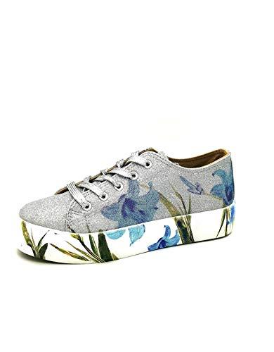 CAFèNOIR Sneakers DM933 Argento in Glitter Con Stampa Fiore 40
