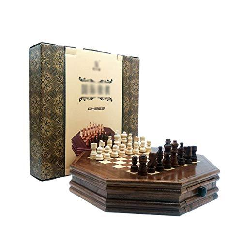 WRJY Juego de ajedrez Juego de ajedrez de Madera Maciza Octogonal Ajedrez de Trabajo Hecho a Mano de Lujo con cajón de Almacenamiento Piezas de ajedrez Juego de Tablero de ajedrez profe