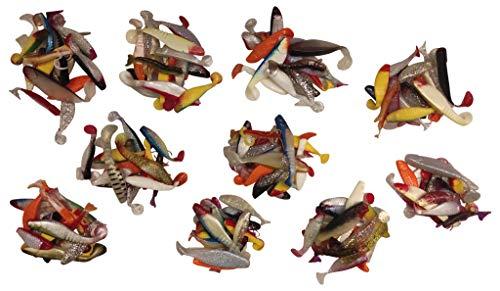 SANDAFishing 1000g Set Gummifische Barsch Zander - 7cm bis 11cm Relax Gummi Fisch Hecht Köder Gummiköder (1000g Gummiköder)