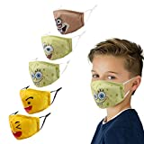Kids Face Mask Facemask Reusable, Cute Cotton Adjustable Kawaii Girl Boy Child Smiley Guy Toddler Comfortable Youth Funny Size Washable Colorful Pretty Cloth Design Coverings Dust Anime Sport