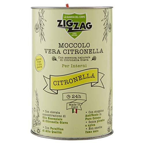 Zig Zag, Candela all'Olio Essenziale di Citronella, Moccolo per Interni, made in Italy, stoppino a base di fibra naturale, durata 24 Ore