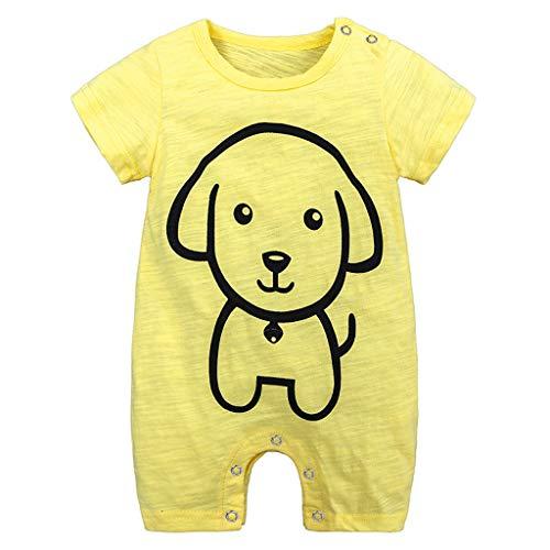 Allegorly Baby Strampler Jungen Mädchen Schlafanzug Baumwolle Karikaturdruck Kurze Ärmel Overalls Säugling Spielanzug Baby-Nachtwäsche Jumpsuit Outfit Bodys 0-18 Monate