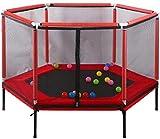 YONGYONGCHONG Bungee Jumping Trampoline Kinder Zaun-Netz Sprungmatte Padding Elastic Indoor Outdoor Familie Schule Unterhaltung Sportausrüstung (Color : Red)