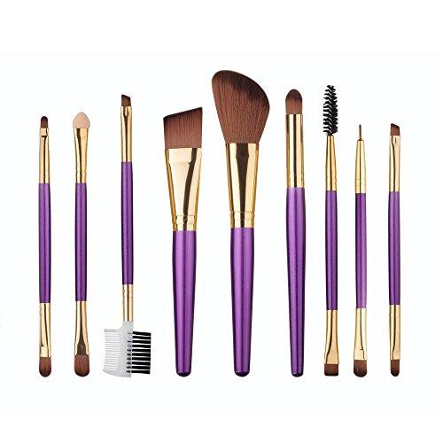 RY@ 9 Pcs Makeup Brush Kit Wood Professional Cosmetic Set Foundation Brush Powder Brush Eyeshadow Brushes , A