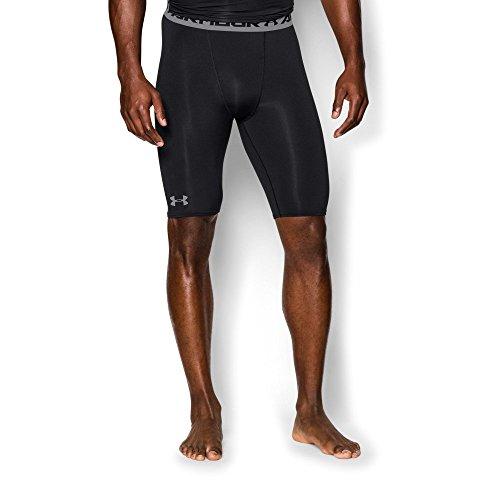 Under Armour Men's HeatGear Armour Compression Shorts – Long, Black (001)/Steel, Medium