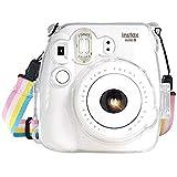 Fujifilm Instax Mini 8 / Mini 8+ / Mini 9 Crystal Case - CAMSIR Crystal Camera Case With Adjustable Rainbow Shoulder Strap for Fujifilm Instax Mini 8 / Mini 8+ / Mini 9 Instant Camera - Transparent