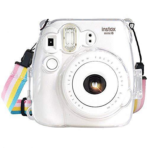 Funda Wolven Crystal para cámara Fujifilm Instax Mini 8/Mini 8+/mini 9, carcasa transparente, con correa ajustable para el hombro para Fujifilm Instax Mini 8/Mini 8+/mini 9