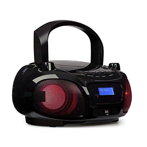 auna Roadie DAB Stereoanlage Compact DAB System (CD-Radio, USB, MP3, DAB/DAB+ und UKW Radio, 3.0 Bluetooth, 2 x 1,5 Watt RMS, Netz- und Batterie-Betrieb) schwarz