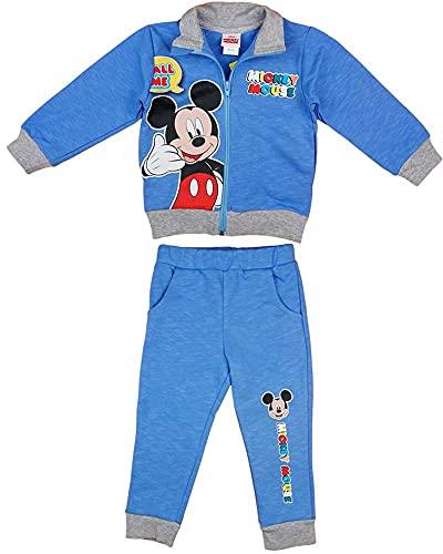 Disney Mickey Mouse Sportanzug, 2Teiler Set, Junge Gr. 68 74 80 86 92 98 104 110 116 Baumwolle Outfit Jogginganzug Hose mit Jacke Kapuzen-Pullover Farbe Modell 3, Größe 110