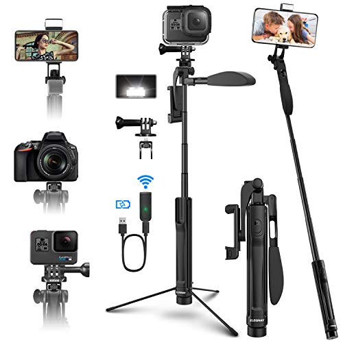 Selfie Stick Tripod, ELEGIANT Extendable Phone Tripod Stand for Phone and Camera with Bluetooth Remote, LED Light, Balance Handle Compatible with iPhone 11 Pro Xs Xr Android Galaxy S20 DSLR Gopro More