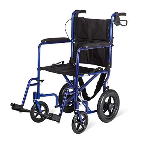 Xink-Wheelchairs Sedia a rotelle Leggero e Pieghevole FramePortable Transit Viaggi Sedia portantina Sedia a rotelle con Il Freno, Rosso/Blu di Sicurezza Caricamento 140kg (Color : Blue)