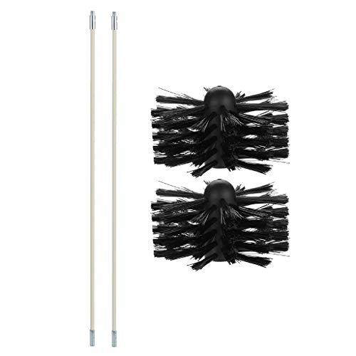 Pstars 6 Pcs Chimney Tube Inner Wall Cleaning Brush Dryer Tube Brushflexible Stiff Bristles Brush Dryer Vent Cleaning Kit (C)